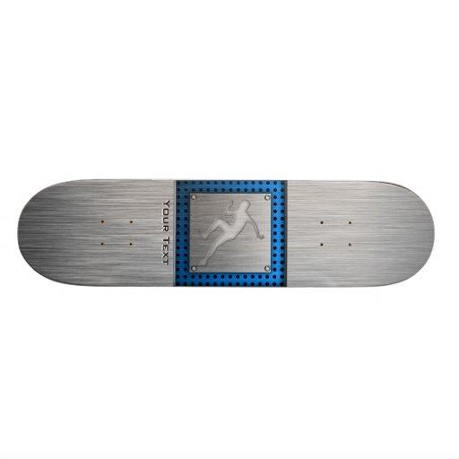 Running; Brushed Metal-look Skateboard