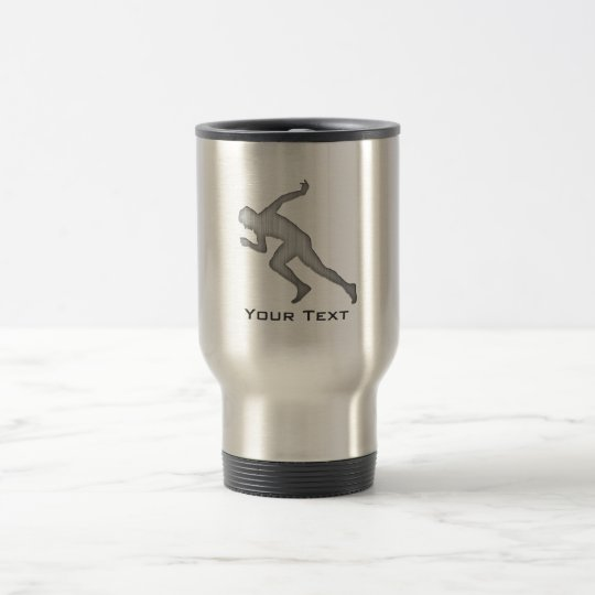Running; Brushed Metal-look Travel Mug