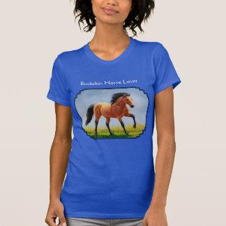 Running Buckskin Horse Blue Shirt
