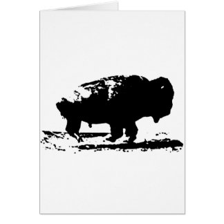 Running Buffalo Bison Pop Art Card