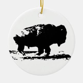 Running Buffalo Bison Pop Art Ceramic Ornament