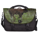 Running Buffalo & Forest, Bison-lover's Design Bags For Laptop
