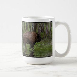 Running Buffalo & Forest, Bison-lover's Design Classic White Coffee Mug
