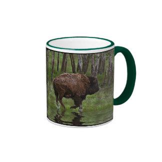 Running Buffalo & Forest, Bison-lover's Design Ringer Coffee Mug