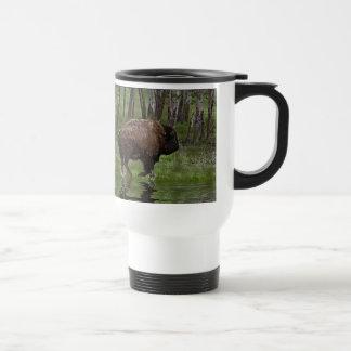 Running Buffalo & Forest, Bison-lover's Design 15 Oz Stainless Steel Travel Mug
