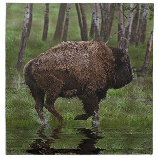 Running Buffalo & Forest, Bison-lover's Design Napkin