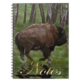 Running Buffalo & Forest, Bison-lover's Design Spiral Note Books