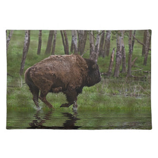 Running Buffalo & Forest, Bison-lover's Design Placemat