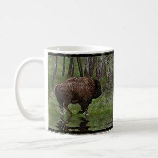 Running Buffalo & Forest Bison-lover's Designer Classic White Coffee Mug