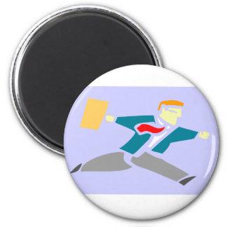 Running Businessman 2 Inch Round Magnet