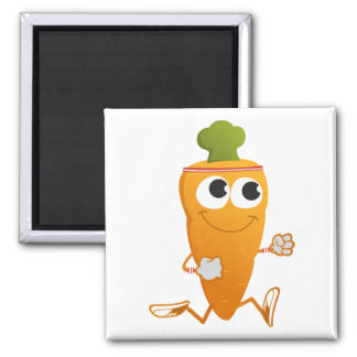 Running Carrot 2 Inch Square Magnet
