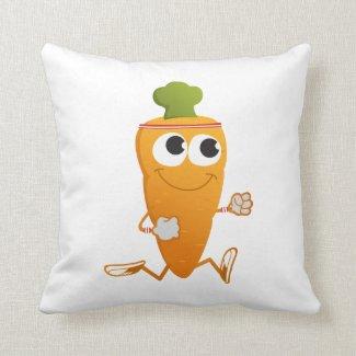 Running Carrot Throw Pillows