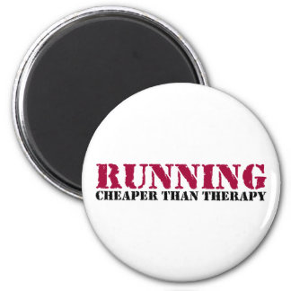 Running - Cheaper than therapy 2 Inch Round Magnet