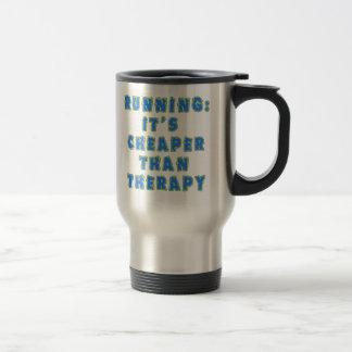 RUNNING:  CHEAPER THAN THERAPY Tshirts Travel Mug