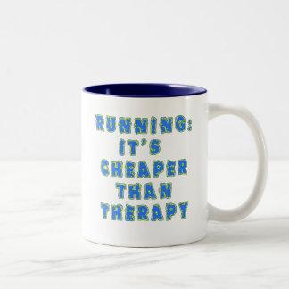 RUNNING:  CHEAPER THAN THERAPY Tshirts Two-Tone Coffee Mug