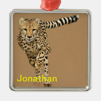 Running Cheetah Metal Ornament
