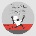 Running chef fork knives gift tag labels classic round sticker