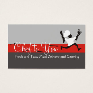 Running chef meal delivery catering business card