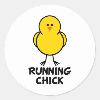 Running Chick Classic Round Sticker