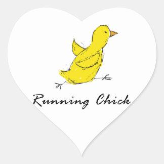 Running Chick Heart Sticker