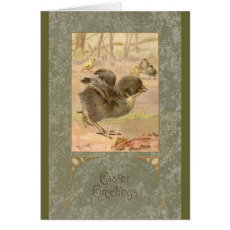 Running Chick Vintage Easter Card
