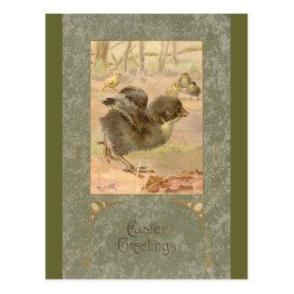 Running Chick Vintage Easter Card Postcards