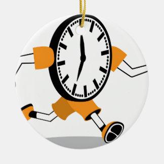 Running Clock Ceramic Ornament