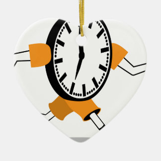 Running Clock Double-Sided Heart Ceramic Christmas Ornament