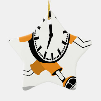 Running Clock Double-Sided Star Ceramic Christmas Ornament