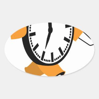 Running Clock Oval Sticker