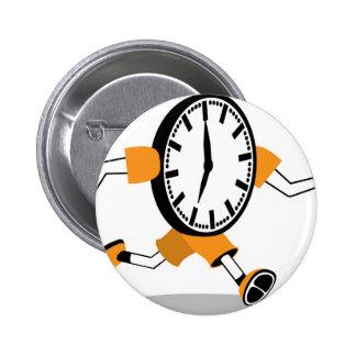 Running Clock Pinback Button