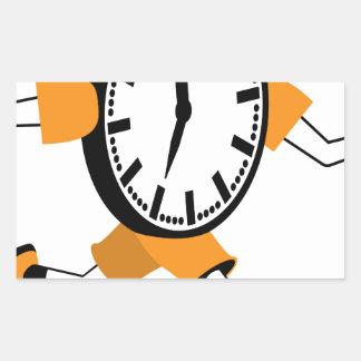 Running Clock Rectangular Sticker