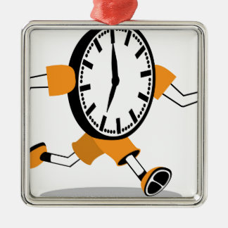Running Clock Square Metal Christmas Ornament