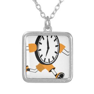 Running Clock Square Pendant Necklace