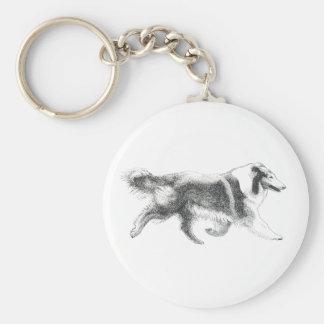Running Collie keychain