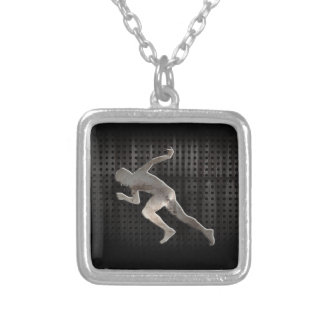 Running; Cool Square Pendant Necklace