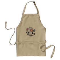 Running cow holding ice cream and milk adult apron