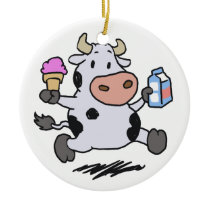 Running cow holding ice cream and milk ceramic ornament