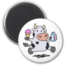 Running cow holding ice cream and milk magnet