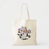 Running cow holding ice cream and milk tote bag
