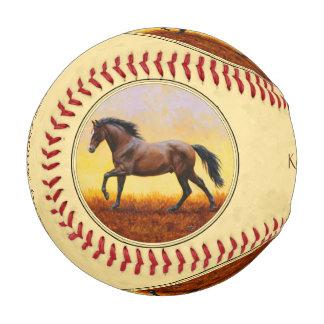 Running Dark Bay Horse Yellow Baseball