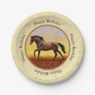 Running Dark Bay Horse Yellow Paper Plate