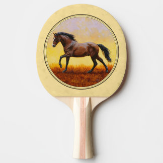 Running Dark Bay Horse Yellow Ping Pong Paddle