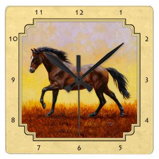 Running Dark Bay Horse Yellow Square Wall Clock