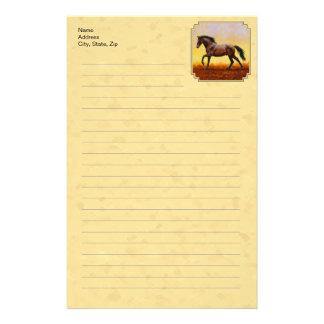 Running Dark Bay Horse Yellow Stationery