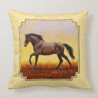 Running Dark Bay Horse Yellow Throw Pillow