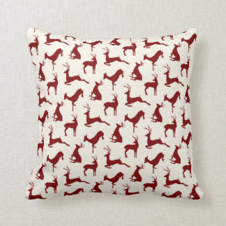 Running Deer and Buck Pattern in Red on Cream Throw Pillow