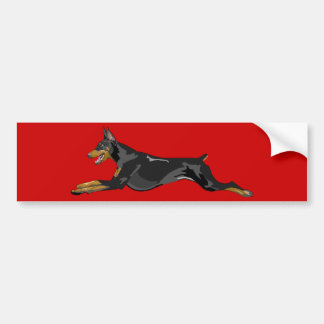 Running Doberman, Black Bumper Sticker