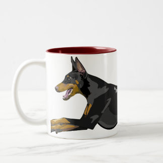 Running Doberman, Black Two-Tone Coffee Mug