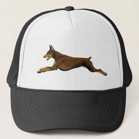 Running Doberman, Red Trucker Hat